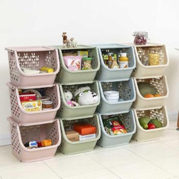【一个装】乐彼带盖塑料厨房收纳篮多功能桌面整理盒杂物收纳箱镂空玩具筐