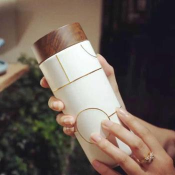 乾唐轩活瓷杯梦想木纹盖随身杯创新意陶瓷杯送礼物带盖水杯