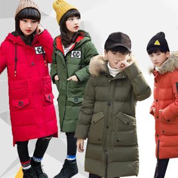韩版大毛领冬季中大童中长款加厚保暖男女童连帽儿童羽绒服巴-1718
