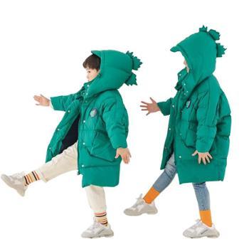 创意小怪兽款儿童中长款羽绒棉服秋冬童装棉衣 卡通儿童羽绒服中长款宝宝加厚童装 W1918