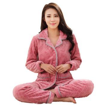 冬季睡衣 女冬季珊瑚绒长袖家居服法兰绒加厚款冬天大码保暖套装