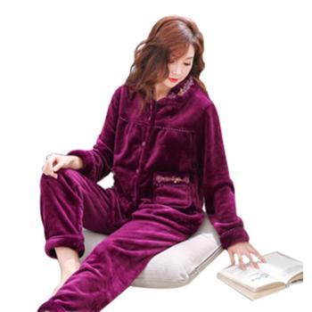 珊瑚绒睡衣女套装加肥加大码法兰绒中老年妈妈睡衣冬季保暖家居服