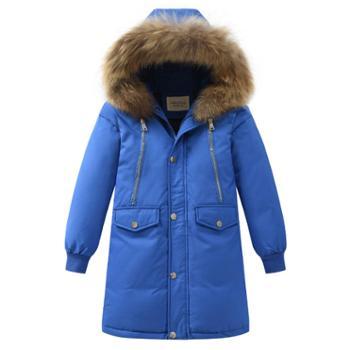 冬季童装儿童男童羽绒服长款毛领嘻哈加厚中长款中大童