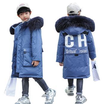 儿童羽绒服冬季男童韩版中长款加厚大毛领童装外套一8839