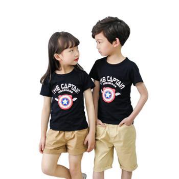 男女童纯棉短袖T恤圆领打底半袖上衣