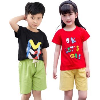 儿童短袖T恤套装纯棉男女童圆领T恤幼儿园班服童装