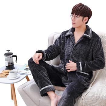 男士法兰绒睡衣长袖秋冬季加厚加大码珊瑚绒家居服套装