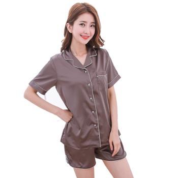 丝绸睡衣女夏款短袖短裤韩版休闲睡衣套装睡衣