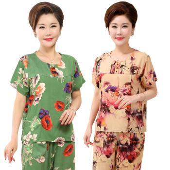 中老年人女装夏装妈妈套装棉绸老太太睡衣老人衣服奶奶装短袖