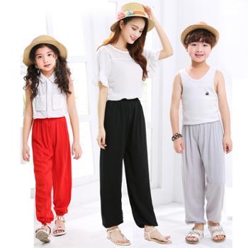 夏季纯色儿童灯笼裤男女中小童防蚊裤棉绸空调裤