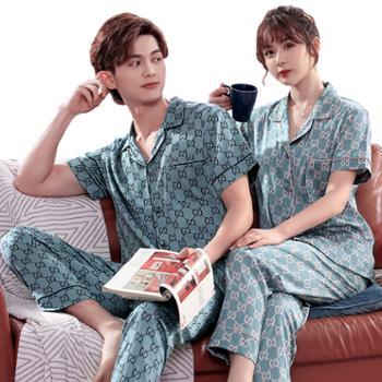 情侣睡衣短袖长裤夏天冰丝套装男士家居服女士两件套睡衣