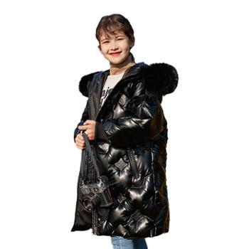 家羚 儿童羽绒服女童加厚外套 中长款