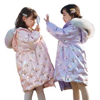 家羚儿童羽绒服女童加厚冬季外套中长款