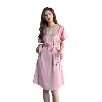 贵绣 女短袖丝绸睡裙有腰带睡衣 大码家居服