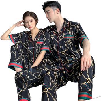 贵绣 情侣睡衣男女士春夏短袖长裤家居服 丝绸套装