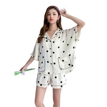 贵绣 韩版少女短袖短裤睡衣 丝绸家居服