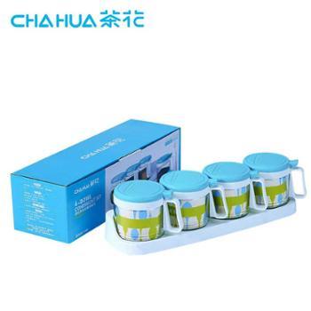 茶花300ML四组圆形玻璃调味瓶