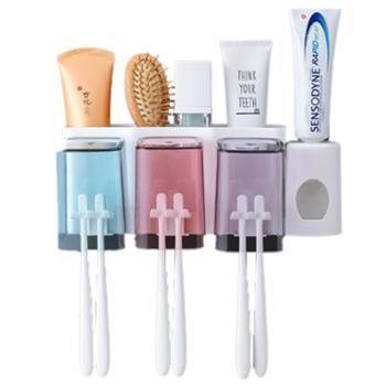 卉居吸壁式牙刷漱口杯置物架--三口牙刷架+挤牙膏器