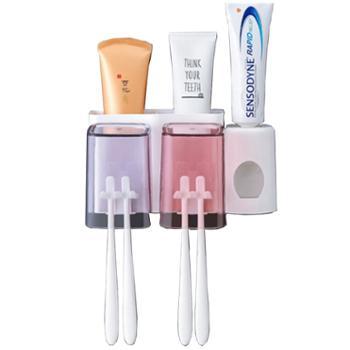 卉居吸壁式免打孔漱口杯牙刷置物架套装--两口牙刷架+挤牙膏器