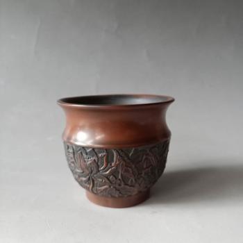 建水紫陶全手工浮雕茶杯柴烧茶杯
