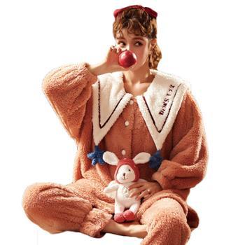 YOUHOO 冬季珊瑚绒冬天可爱可外穿家居服 套装