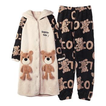 YOUHOO 秋冬季长款珊瑚绒睡衣可外穿 法兰绒睡裙家居服