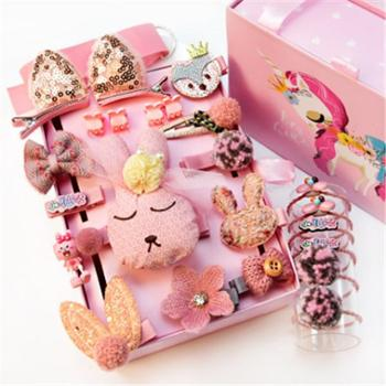 儿童发夹女夹子头饰女童不伤发宝宝发卡24件礼盒装棉花糖系列
