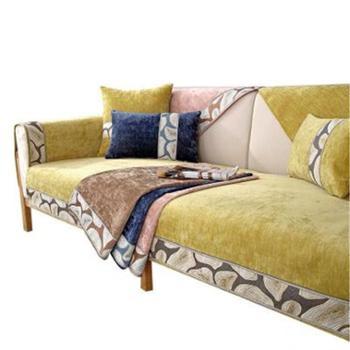 雪尼尔沙发垫四季通用布艺防滑高档毛绒坐垫子冬季北欧风格套罩巾