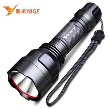 雅格 LED多功能强光巡检手电筒可充电 户外照明骑行防水防身手电