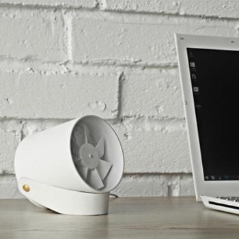 VH「羽」静音柔风触控智能USB双叶风扇 创意迷你便携式学生小风扇