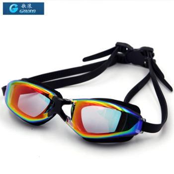 GRiLong 泳镜成人炫酷电镀高清防雾 紫色盒装硅胶竞速游泳镜 MC-818