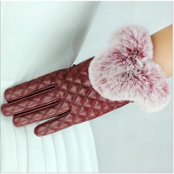 秋冬款皮手套女触屏保暖加绒仿獭兔毛口修手骑开车PU手套女韩版