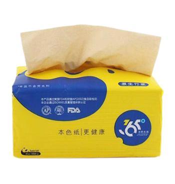 36.5°原生态本色纸竹浆纸抽纸 1提6包装