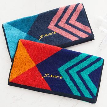 洁丽雅 菱形面巾4条装 纯棉面巾 70*34 100g