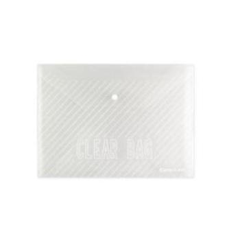 齐心C318文件袋透明按扣袋A4白色档案袋资料袋