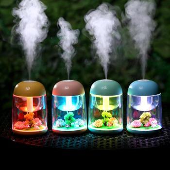 巴里空间创意微景观加湿器七彩夜灯家用雾化加湿器USB迷你香薰加湿器造型创意炫光七彩加湿器家用小夜灯装饰多用加湿器