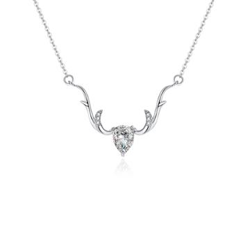 VEECANS一路鹿有你925纯银项链女镶嵌施华洛世奇水晶