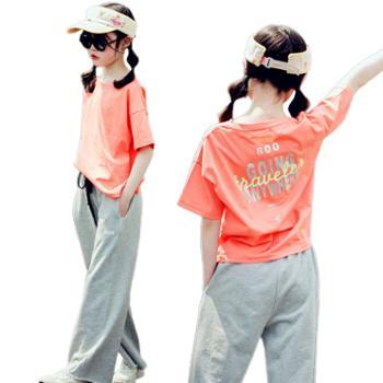 馨霓雅女大童夏款橙色印花上衣运动裤JF2108