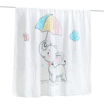 棉小宝纯棉六层水洗纱布婴儿浴巾高密童被盖毯