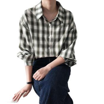 鹿西复古港味宽松显瘦衬衣学院风格子衬衫女