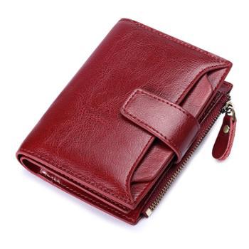 圣蒂梵真皮短款女士钱包钱夹两折复古小零钱包5191