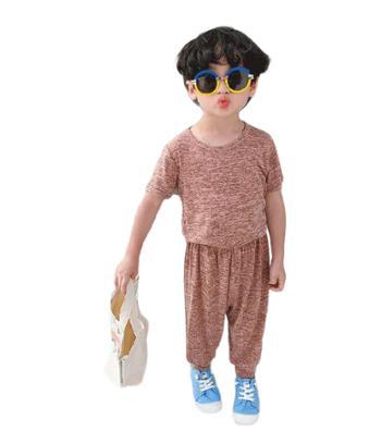 酒窝贝贝超柔儿童面膜凉凉套装纯色上衣+宽松休闲裤两件套男女童