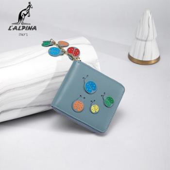 L'ALPINA袋鼠女士时尚简约撞色小钱包短款钱包