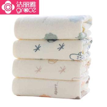 洁丽雅/grace 儿童毛巾4条装 婴儿纯棉柔软宝宝洗脸巾 6953