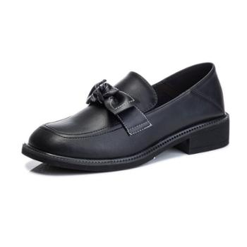 三个儿子玛丽珍粗跟单鞋女真皮女鞋