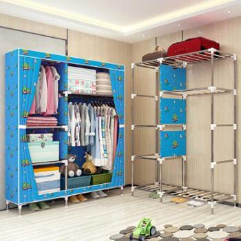索尔诺25MM管布衣柜钢管加粗加固简易衣柜单人大号牛津布艺衣橱