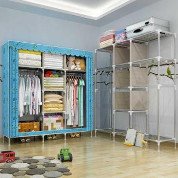 索尔诺非实木布衣柜大号遮光布简易衣柜钢管加粗加固25MM双人衣橱2571FB款