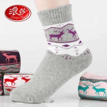 【6双装】浪莎袜子女秋冬款棉袜子女纯棉冬季保暖毛巾袜中筒加厚短袜地板袜
