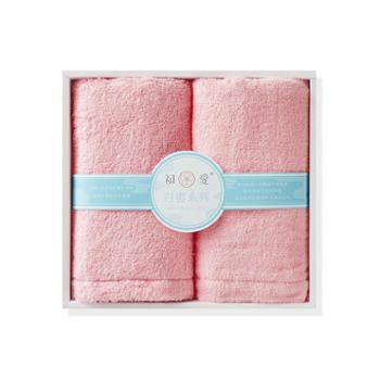 初爱白云系列纯棉毛巾两条精装礼盒 无捻纱纯棉A类 婴儿可用柔软吸水加大加厚糖果色