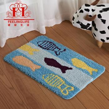 感受生活家居蓝色小鱼进门浴室卧室吸水防滑地垫脚垫地毯工厂*